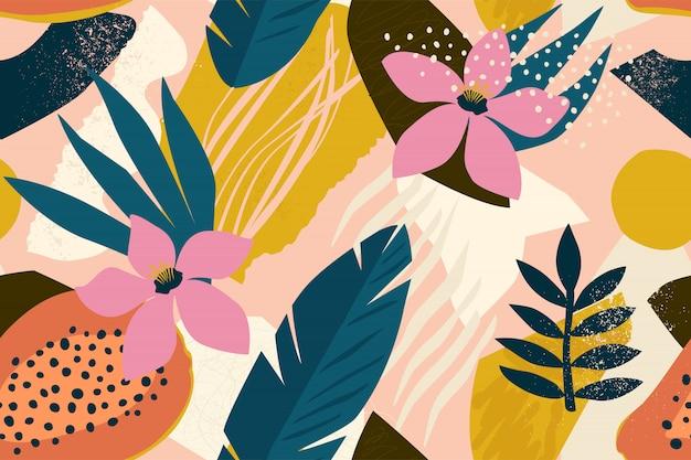 Collage contemporain motif floral sans soudure.