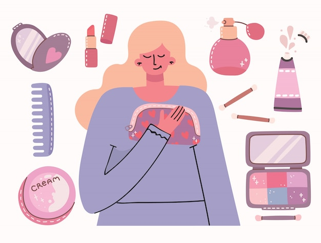 Collage de cosmétiques et de produits de soins corporels autour de la fille. tu es belle carte. rouge à lèvres, lotion, peigne à cheveux, poudre, parfums, pinceau, vernis à ongles.