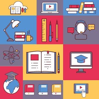 Collage de l'éducation en ligne icônes de ligne plate autocollants colorés du processus éducatif