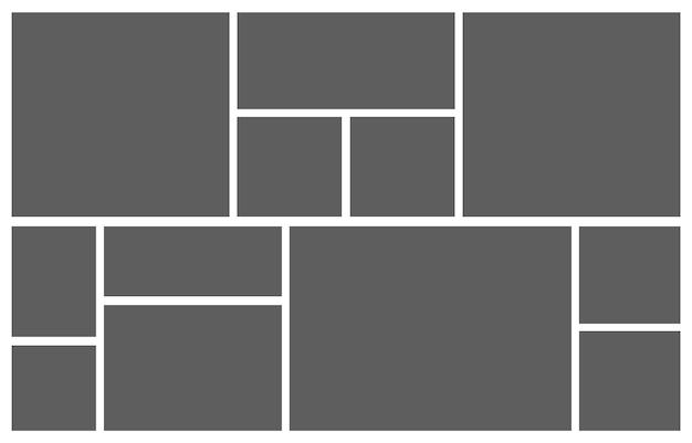 Collage grille humeur planche photo mosaïque photomontage illustration
