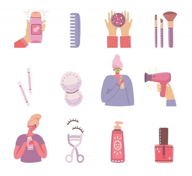 Collage d'illustrations avec des cosmétiques et des produits de soin pour le maquillage près des filles. moderne