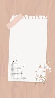 Collage de note de papier de vecteur de note numérique avec des fleurs