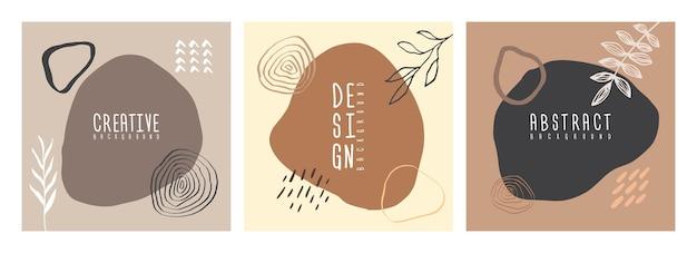 Collage organique dessinés à la main arrière-plans botaniques abstraits scandinaves de couleur en sourdine