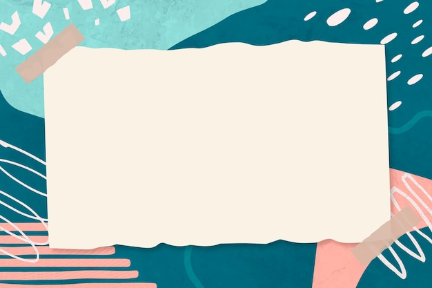 Collage de papier beige vecteur cadre memphis sur fond abstrait mignon bleu