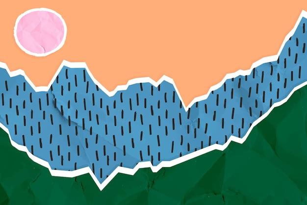 Collage paysage vecteur de papier froissé