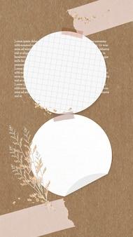 Collage de pense-bête de vecteur de note numérique avec des fleurs, scotché sur un panneau de liège