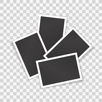 Collage de photos vierges isolé. modèle réaliste de tas de photographies vides dans des cadres blancs pour la décoration, album de conception