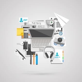 Collage plat icônes art créatif. illustration vectorielle