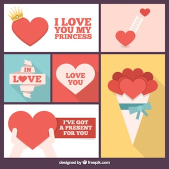 Collage romantique de coeurs