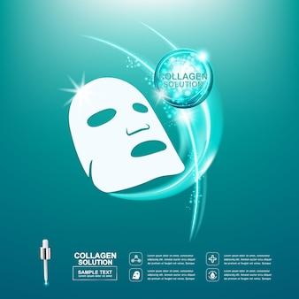 Collagène et masque pour produits de soins de la peau avec fond vert. modèle.
