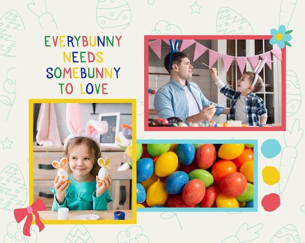 Collages de photo de pâques citation colorée mignonne