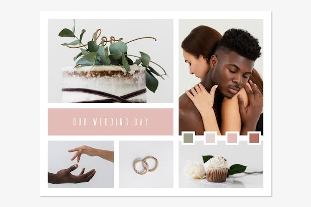 Collages De Photos De Mariage Modernes Minimalistes Vecteur gratuit