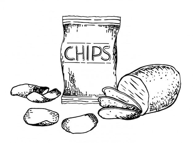 Collation Dessinée à La Main Et Malbouffe Illustration. Chips De Pommes De Terre. Croquis De Style Vintage. Vecteur Premium