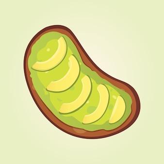 Collation réaliste d'avocat frais. nourriture végétalienne. illustration en style cartoon.