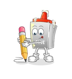 La colle écrit avec un crayon. mascotte de dessin animé