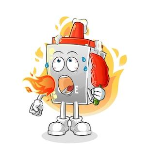 La colle mange la mascotte de piment chaud. dessin animé