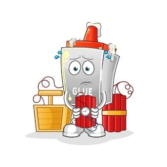 La colle tenant le caractère de dynamite. mascotte de dessin animé