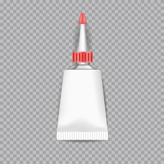 Colle de tubes blancs réaliste isolée sur transparent. illustration vectorielle.
