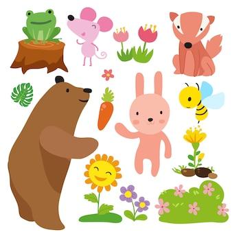 La collecte des animaux dessinés à la main
