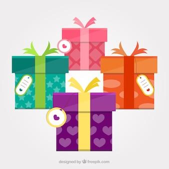 Collecte de cadeaux colorés
