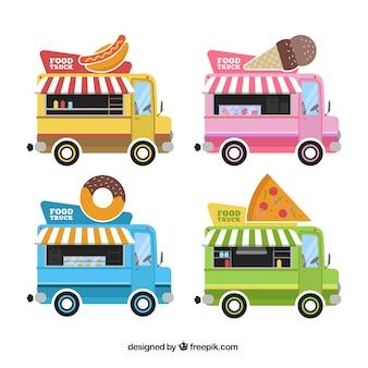 Collecte de camions alimentaires de quatre