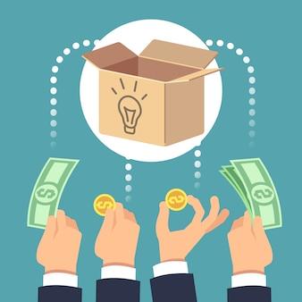 Collecte de fonds auprès d'entreprises sociales et investissement dans de nouvelles idées.