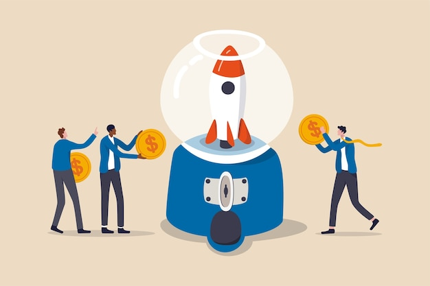 Collecte de fonds, collecte de fonds pour lancer un projet ou les gens contribuent au budget et au concept de soutien financier