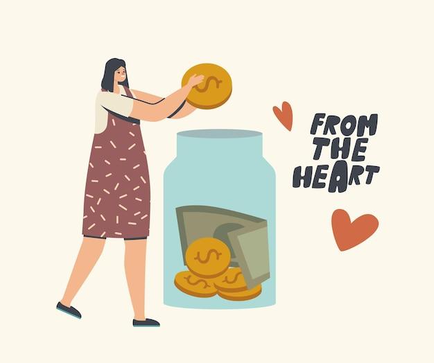 Collecte de fonds, don, illustration de la charité des bénévoles
