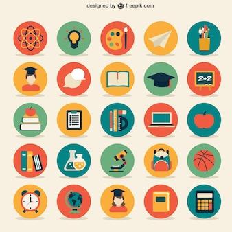 La collecte des icônes de l'éducation