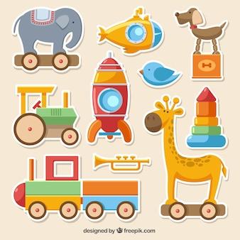 Collecte de jouets colorés