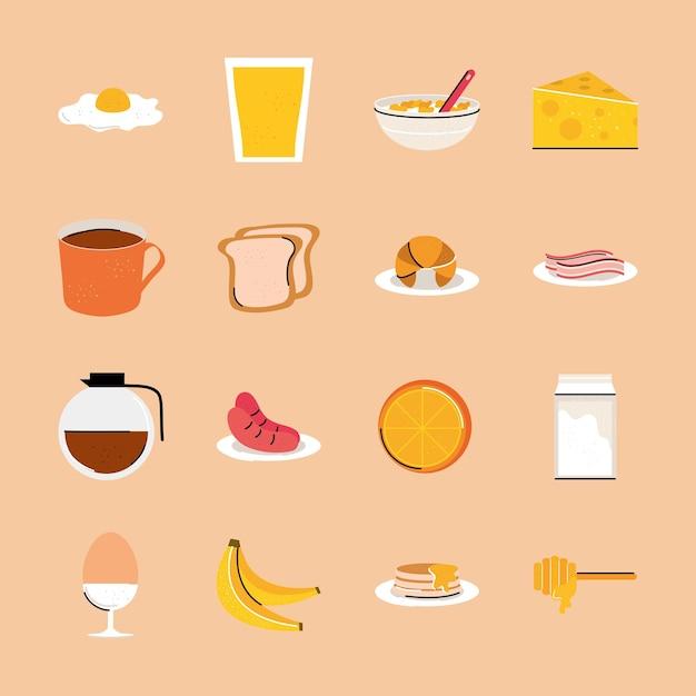 Collecte De Nourriture Pour Le Petit Déjeuner Vecteur Premium