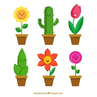 La collecte des pots de fleurs drôles