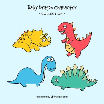 Collectio de personnage de dragon bébé dessinés à la main