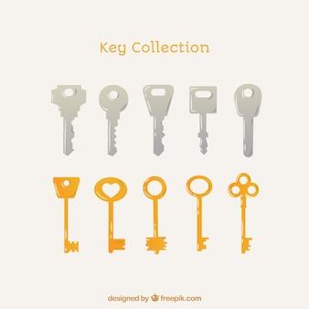Collection de 10 clés en argent et en or
