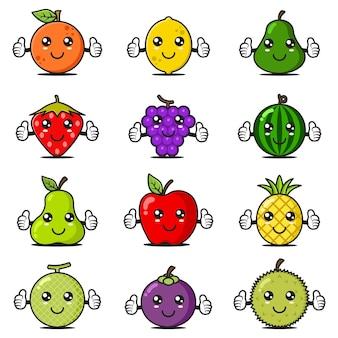 Collection de 12 mascottes de fruits