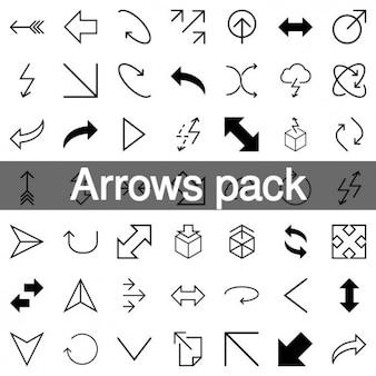 Collection de 200 flèches de l'icône