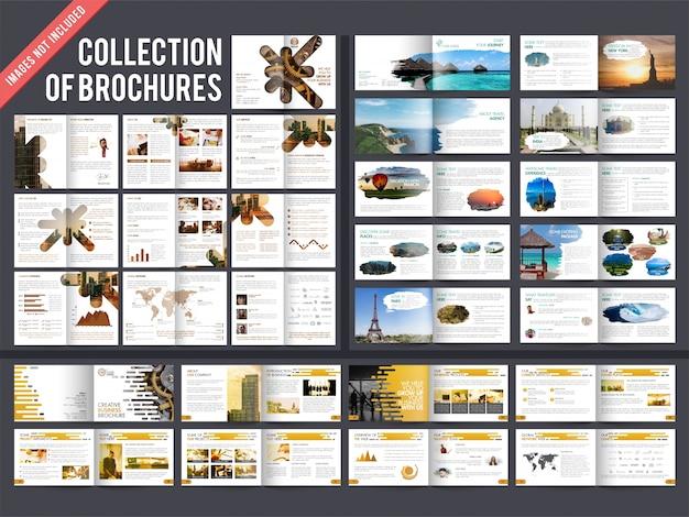 Collection de 3 brochures à plusieurs pages avec la conception de la page de garde.