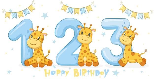 Collection de 3 girafes mignonnes