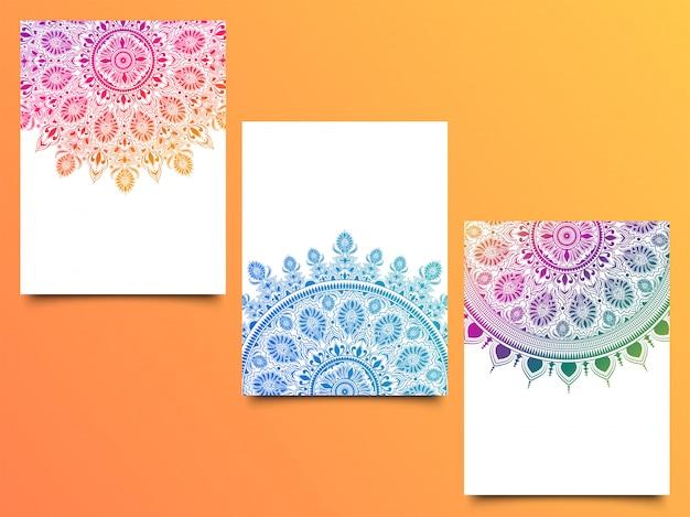 Collection de 3 motifs de mandala de couleurs différentes.