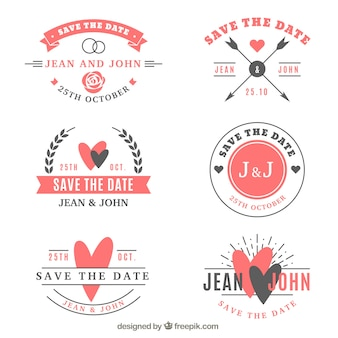 Collection d'étiquettes de mariage de six