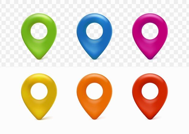La collection 3d de navigation de localisation de carte de goupille a placé le minimaliste élégant mignon avec le fond transparent blanc