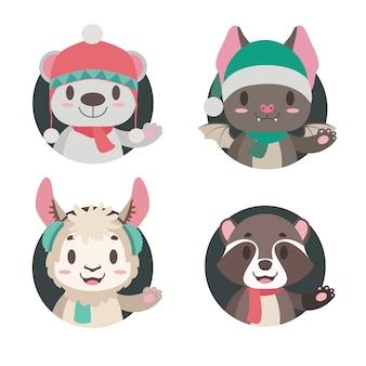 Collection de 4 animaux mignons dans des vêtements d'hiver