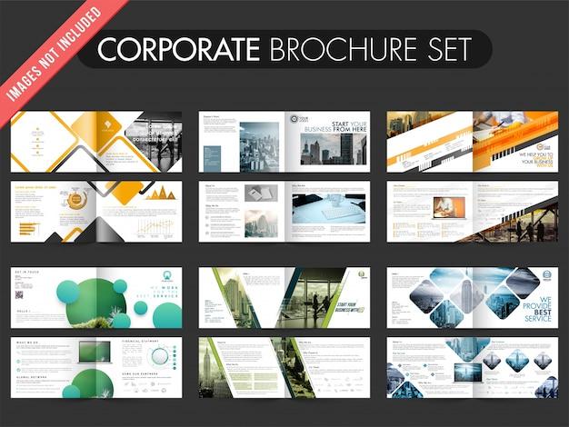 Collection de 6 brochures avec un modèle de conception à quatre pages.