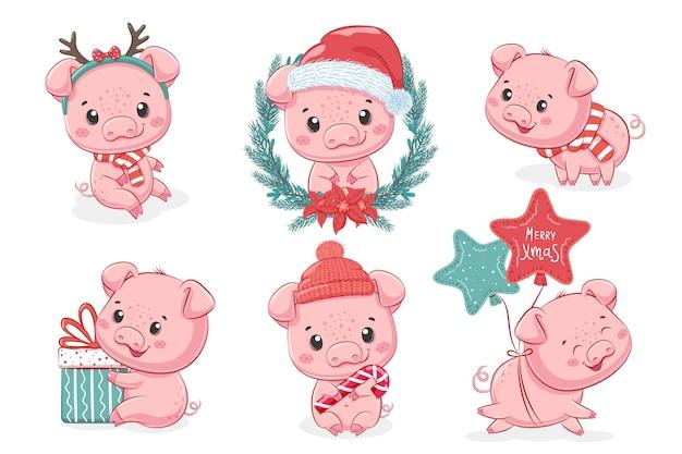 Une collection de 6 mignons porcelets pour le nouvel an et noël. illustration de dessin animé de vecteur.