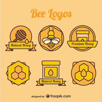 Collection d'abeille et miel logos de couleur