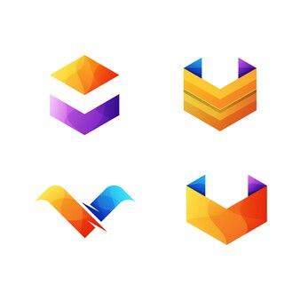 Collection abstraite lettre v logo modèle premium