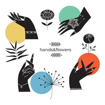 Collection abstraite de mains tenant et fleurs