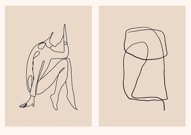 Collection abstraite avec silhouette de mode femme minimaliste linéaire et dessin au trait moderne