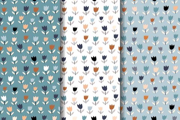 Collection abstraite avec trois motifs floraux sans soudure
