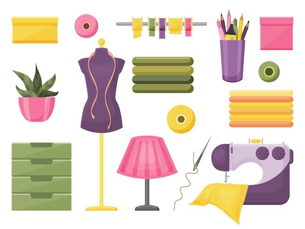 Collection d'accessoires de couture. illustration vectorielle. style de bande dessinée. objets isolés sur blanc.